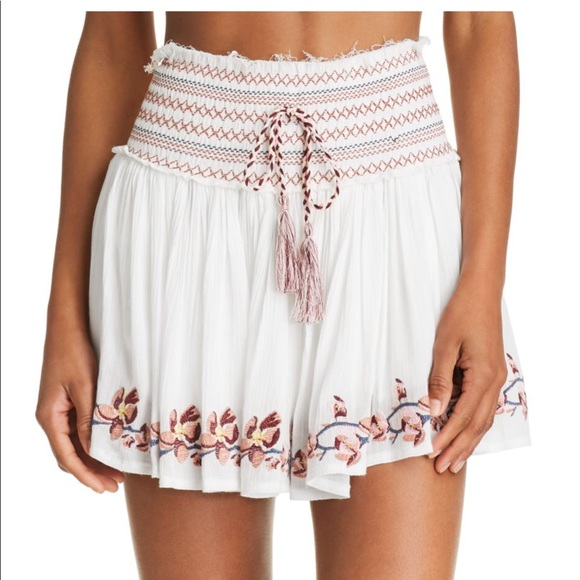 b60ef81a58 Surf Gypsy Embroidered Mini Skirt Swim Cover-Up